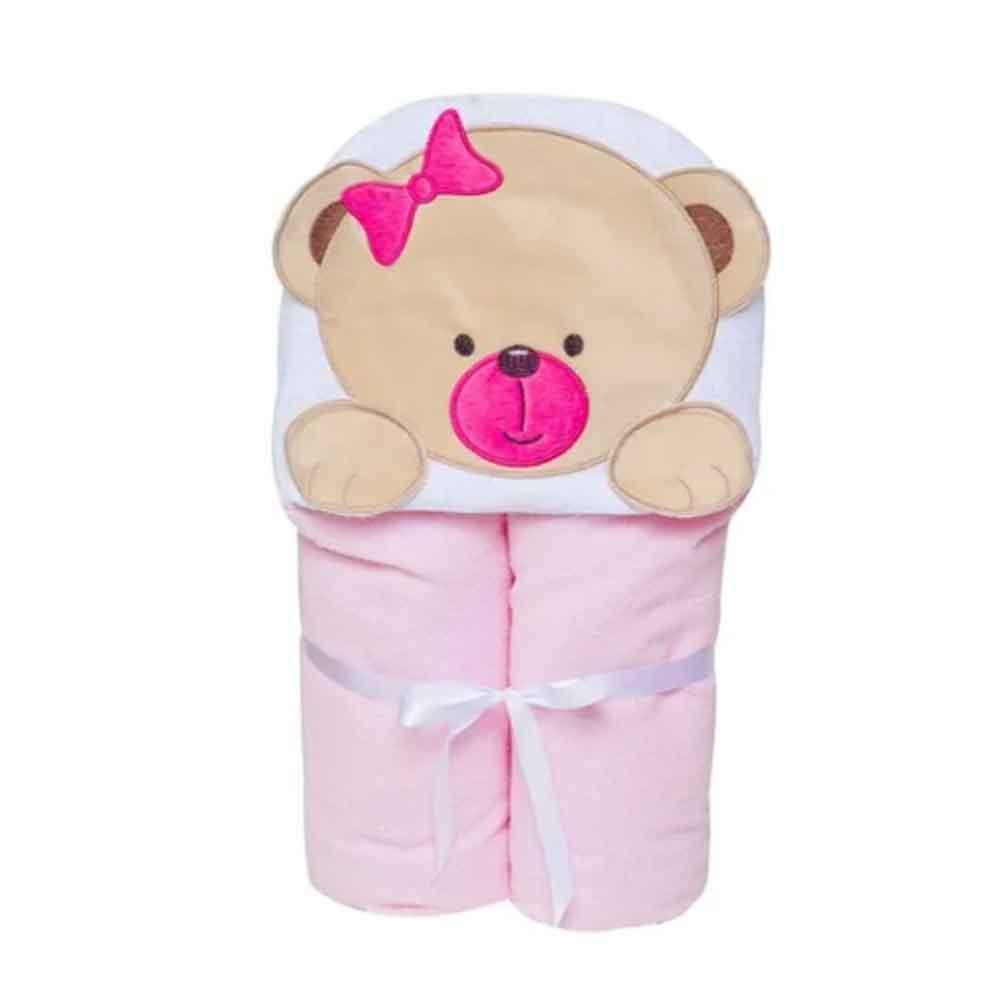 Toalha Papi Toys 90cmx70cm Ursinha Rosa