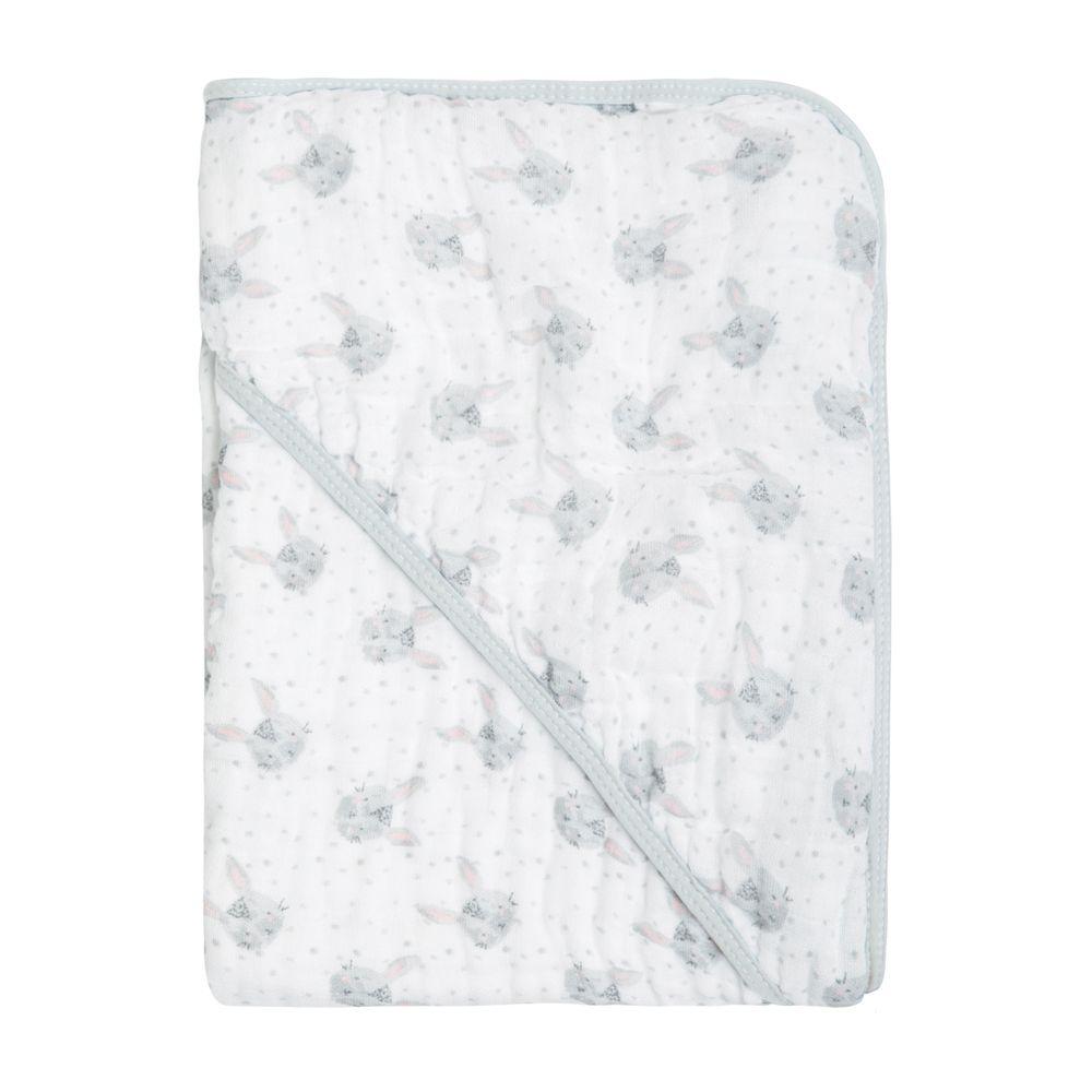 Toalha Soft Papi Tripla Absorção Coelhinho Cinza (80cm x 80cm)