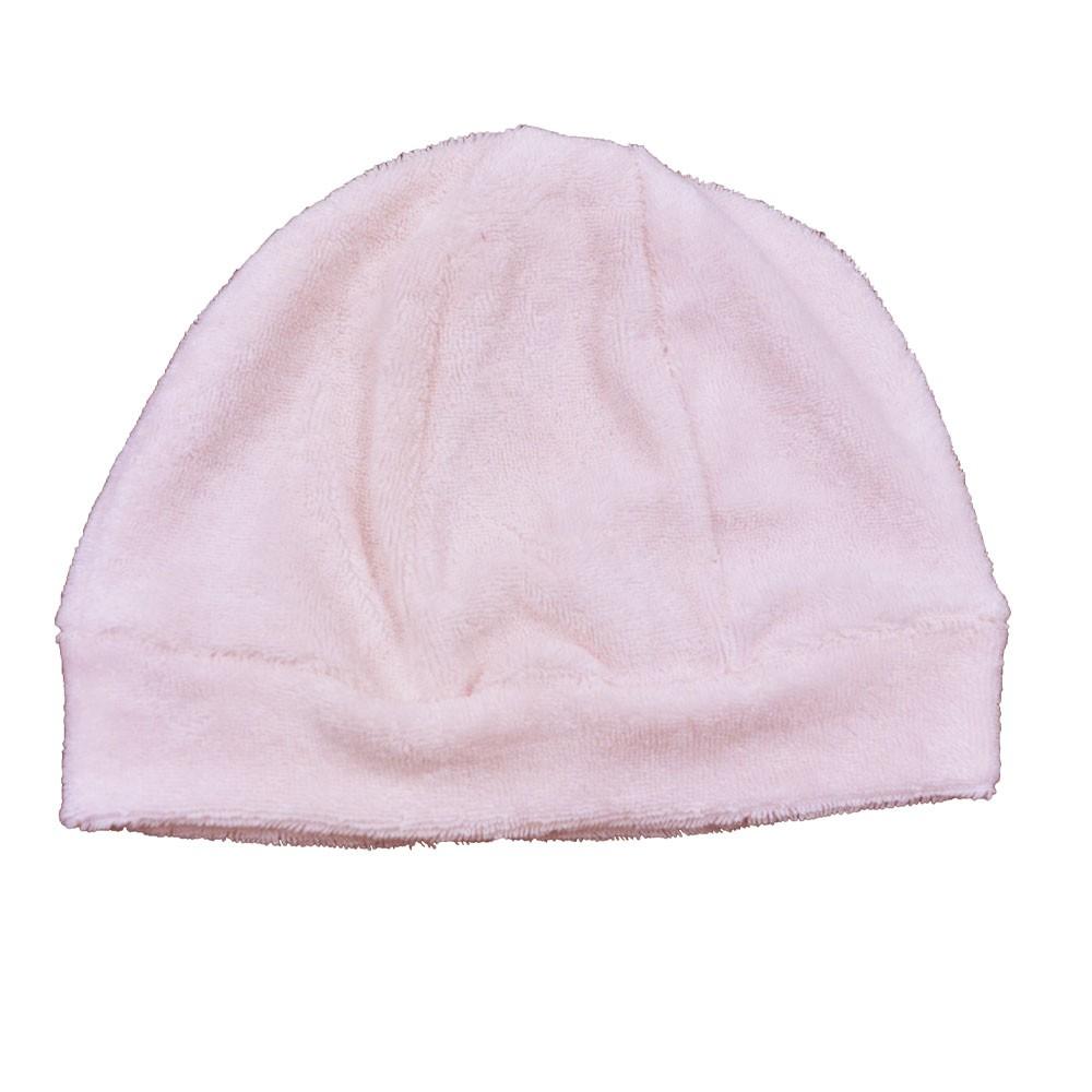 Touca Para Bebê Soft Atoalhado Rosa Claro