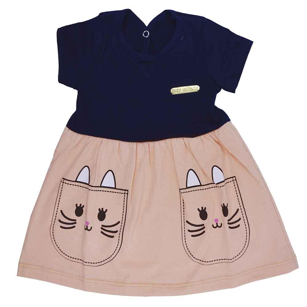 Vestido Infantil Cat Azul Marinho (P/M/G)