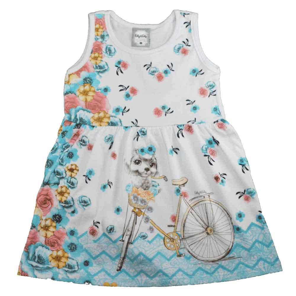 Vestido Infantil KK  Bike Florida Azul