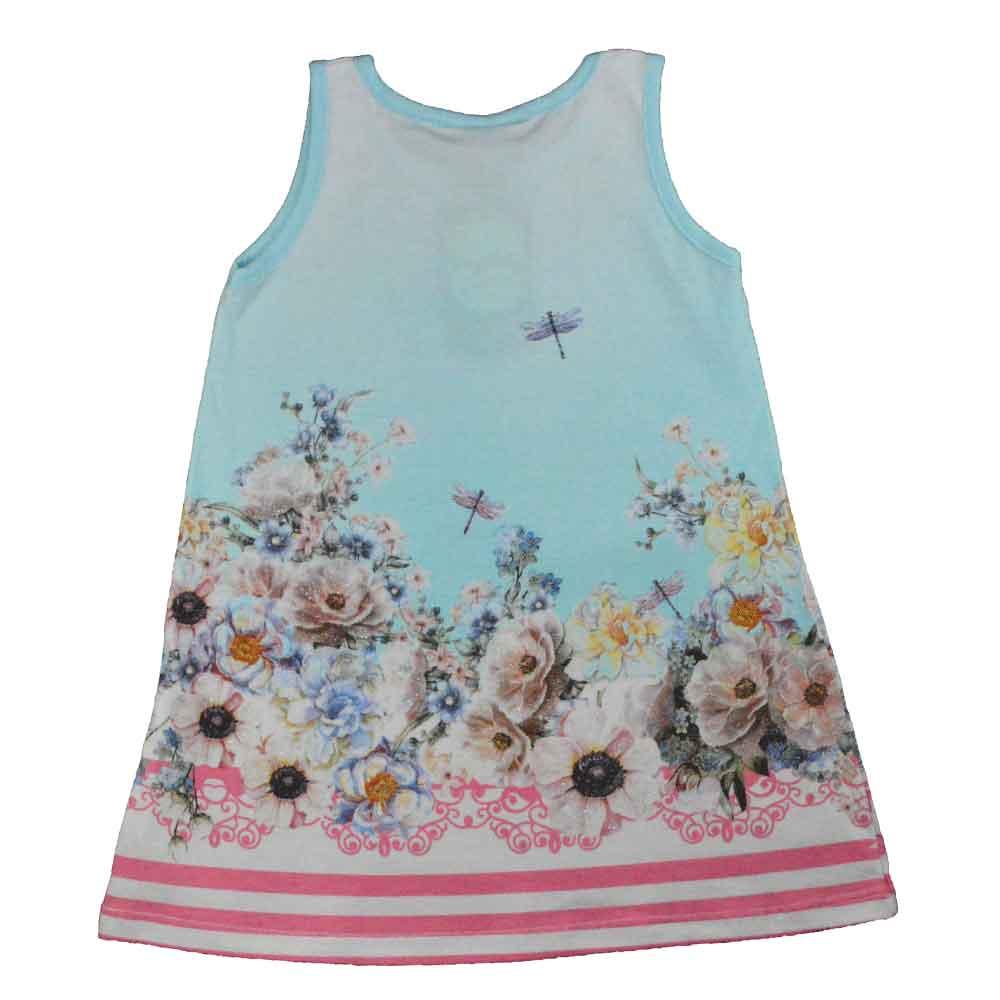 Vestido Infantil KK Ursinho Flores Azul