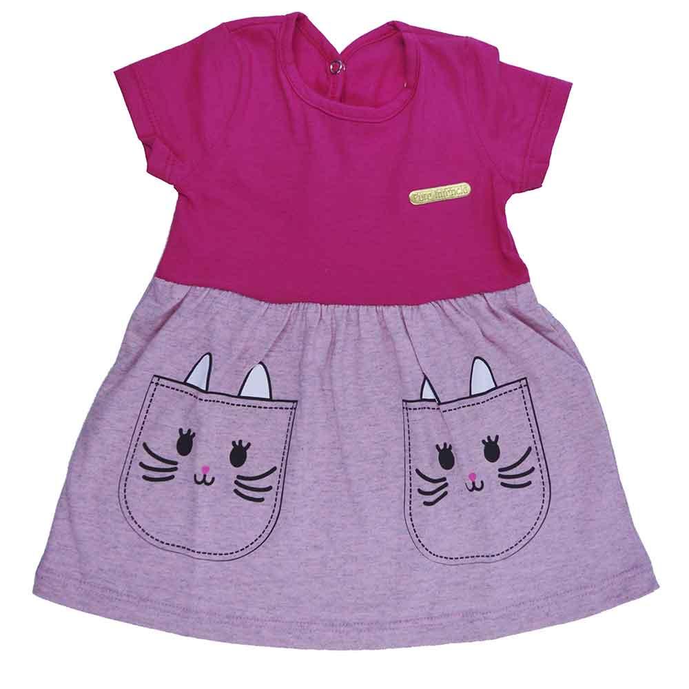 Vestido Infantil Cat Rosa Pink (P/M/G)