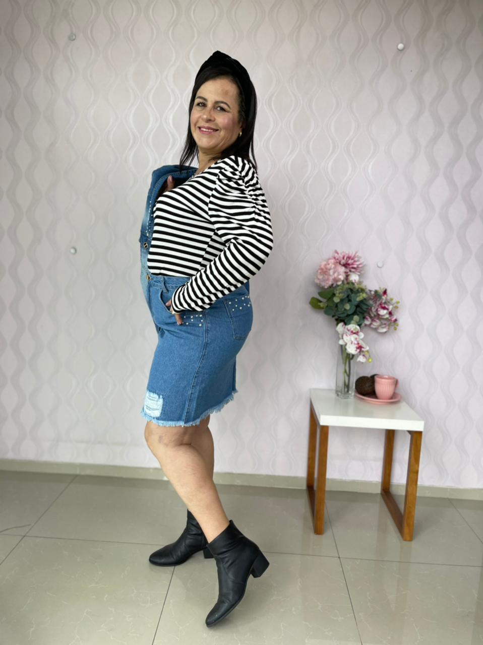 BLUSA CECYTHA MODAS EM MALHA CANELADA LISTRADA MODA EVANGÉLICA