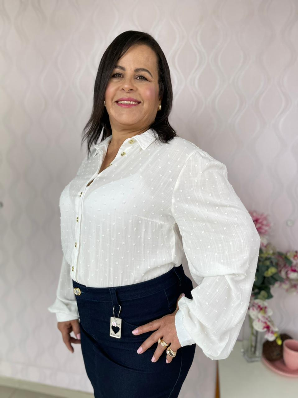 CAMISA CECYTHA MODAS EM VISCOSE OFF-WHITE MODA EVANGÉLICA
