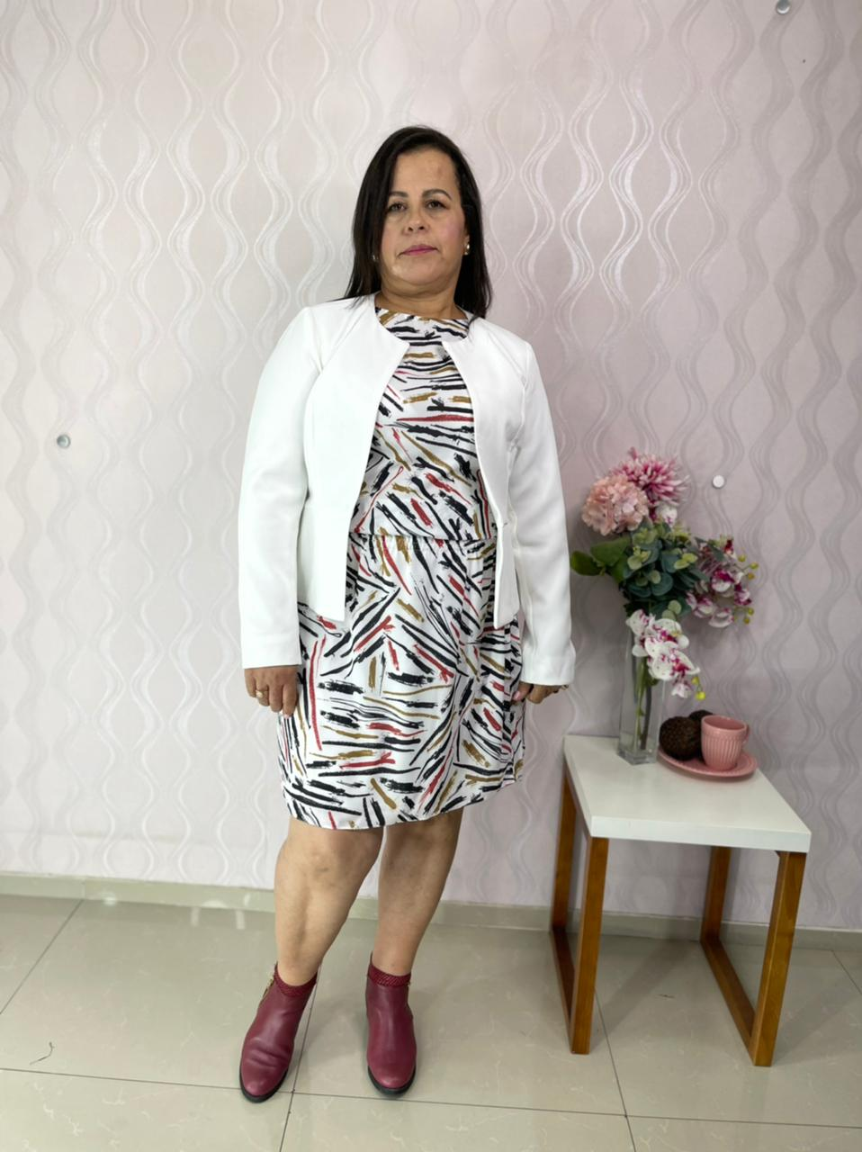 CASACO CECYTHA MODAS MANUELLA OFF-WHITE MODA EVANGÉLICA