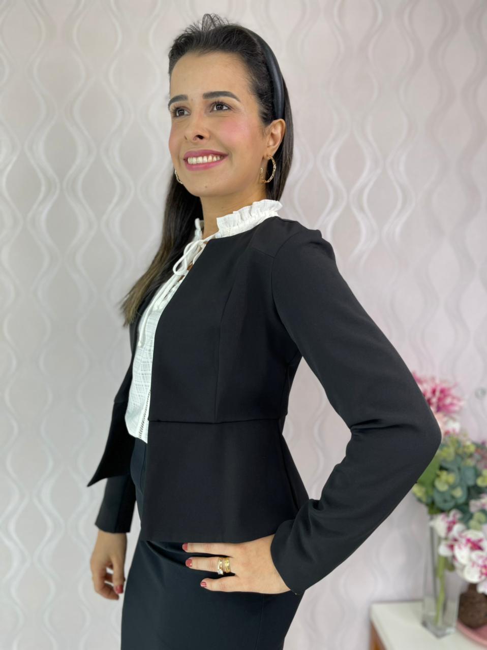 CASACO CECYTHA MODAS MANUELLA PRETO MODA EVANGÉLICA