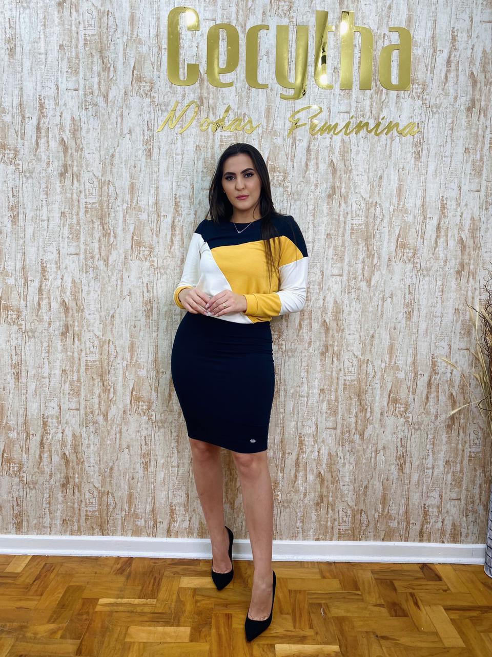 CONJUNTO CECYTHA MODAS LAURA  EM MOLETINHO COM RECORTES MODA EVANGÉLICA