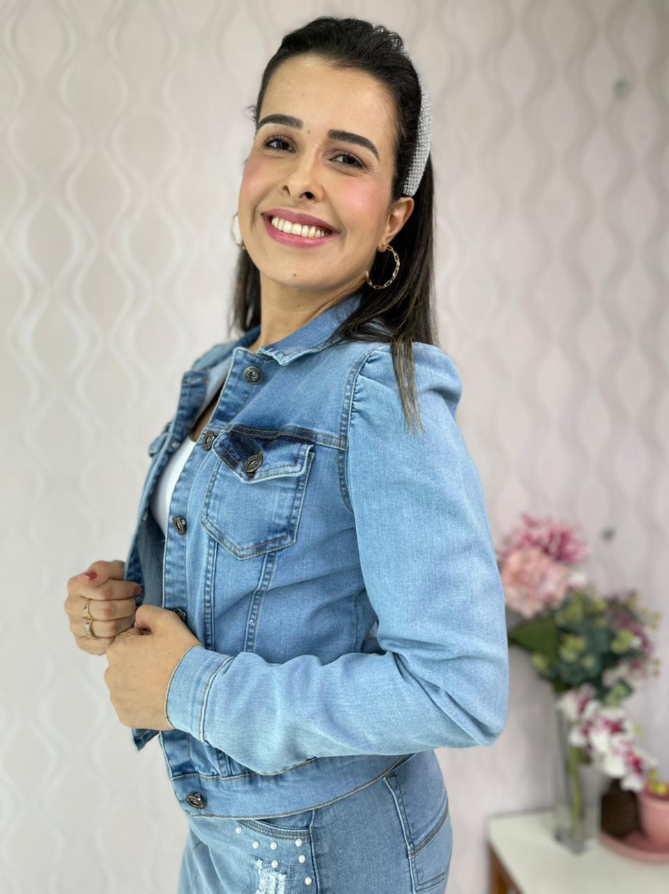 JAQUETA CECYTHA MODAS ALANNA JEANS CLARA MODA EVANGÉLICA