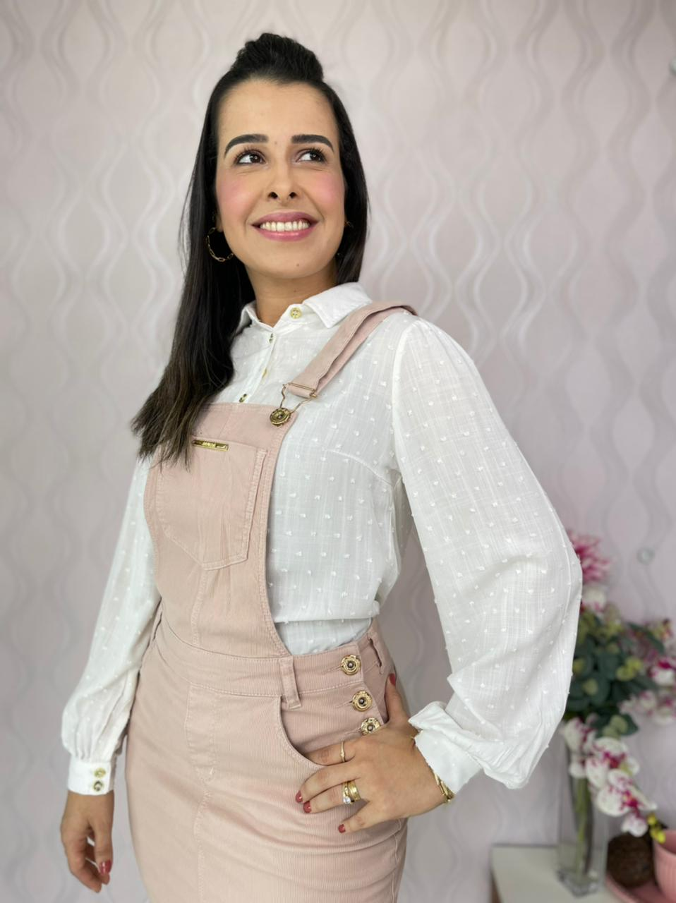 SALOPETE CECYTHA MODAS MICAELA EM SARJA CANELADA MODA EVANGÉLICA