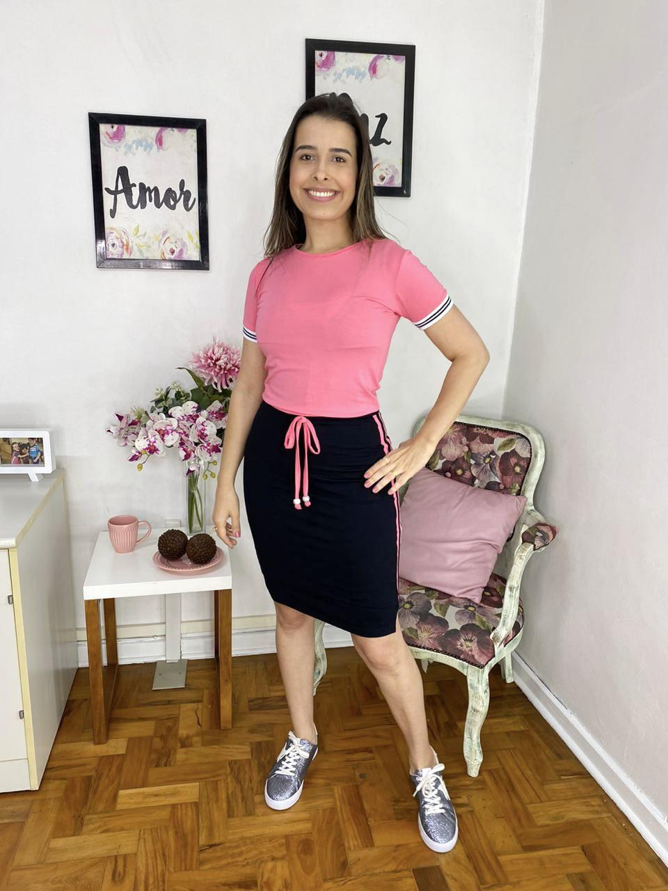 VESTIDO THEREZA GOPFERTH MAITÊ EM MALHA COM RECORTES ROSE MODA EVANGÉLICA
