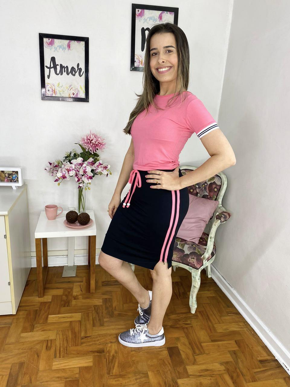 VESTIDO CECYTHA MODAS MAITÊ EM MALHA COM RECORTES ROSE MODA EVANGÉLICA