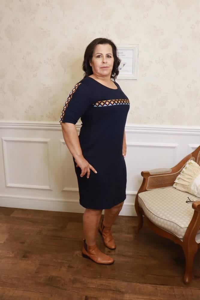 VESTIDO THEREZA GOPFERTH STHEFANY EM MALHA CANELADA COM RECORTES MARINHO MODA EVANGÉLICA (
