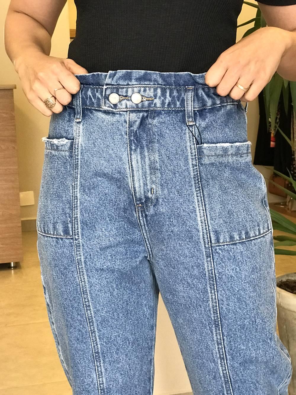 Calça Jeans Baggy Bolsos Frontais