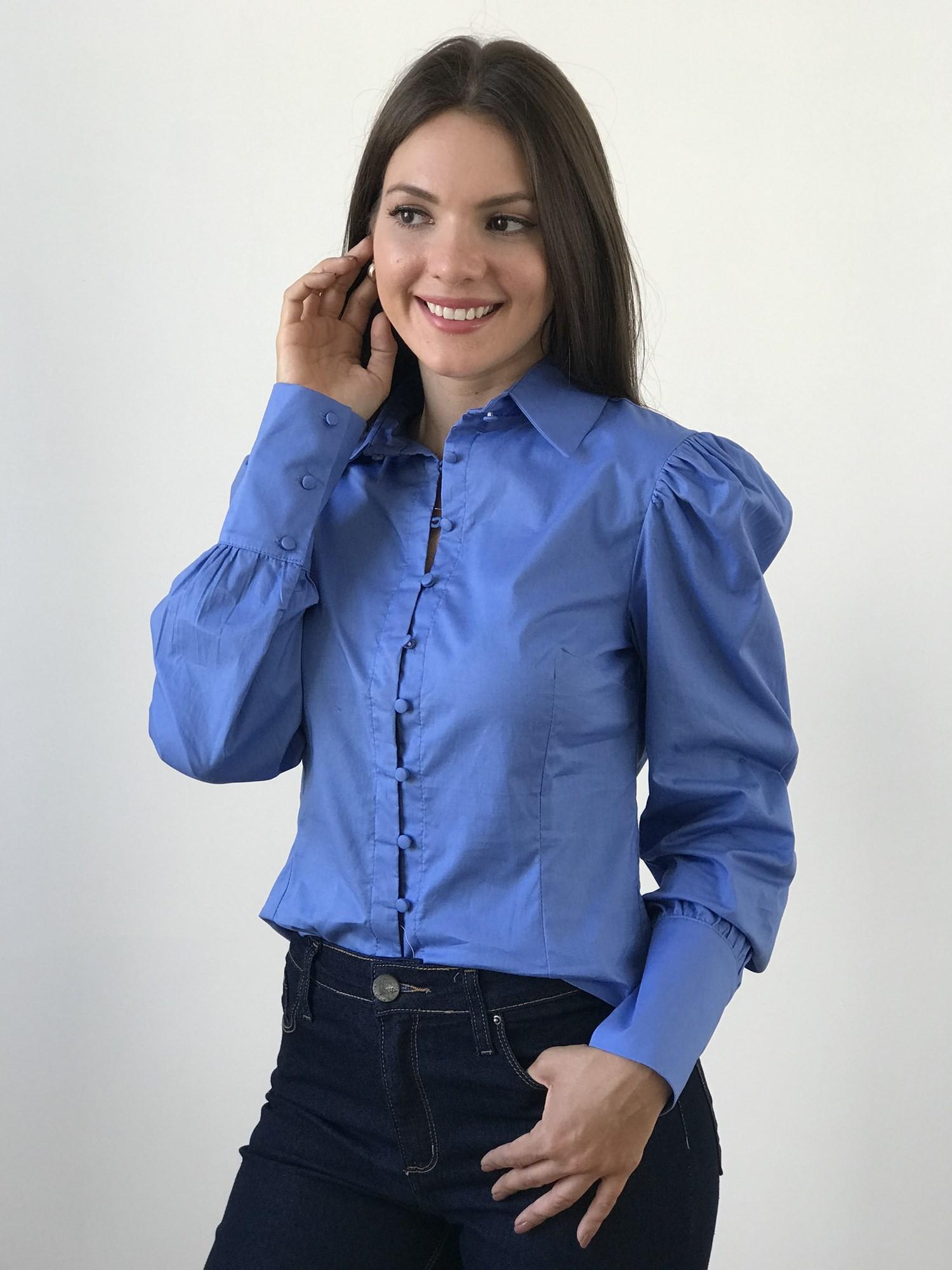 Camisa Alfaiataria Manga Princesa