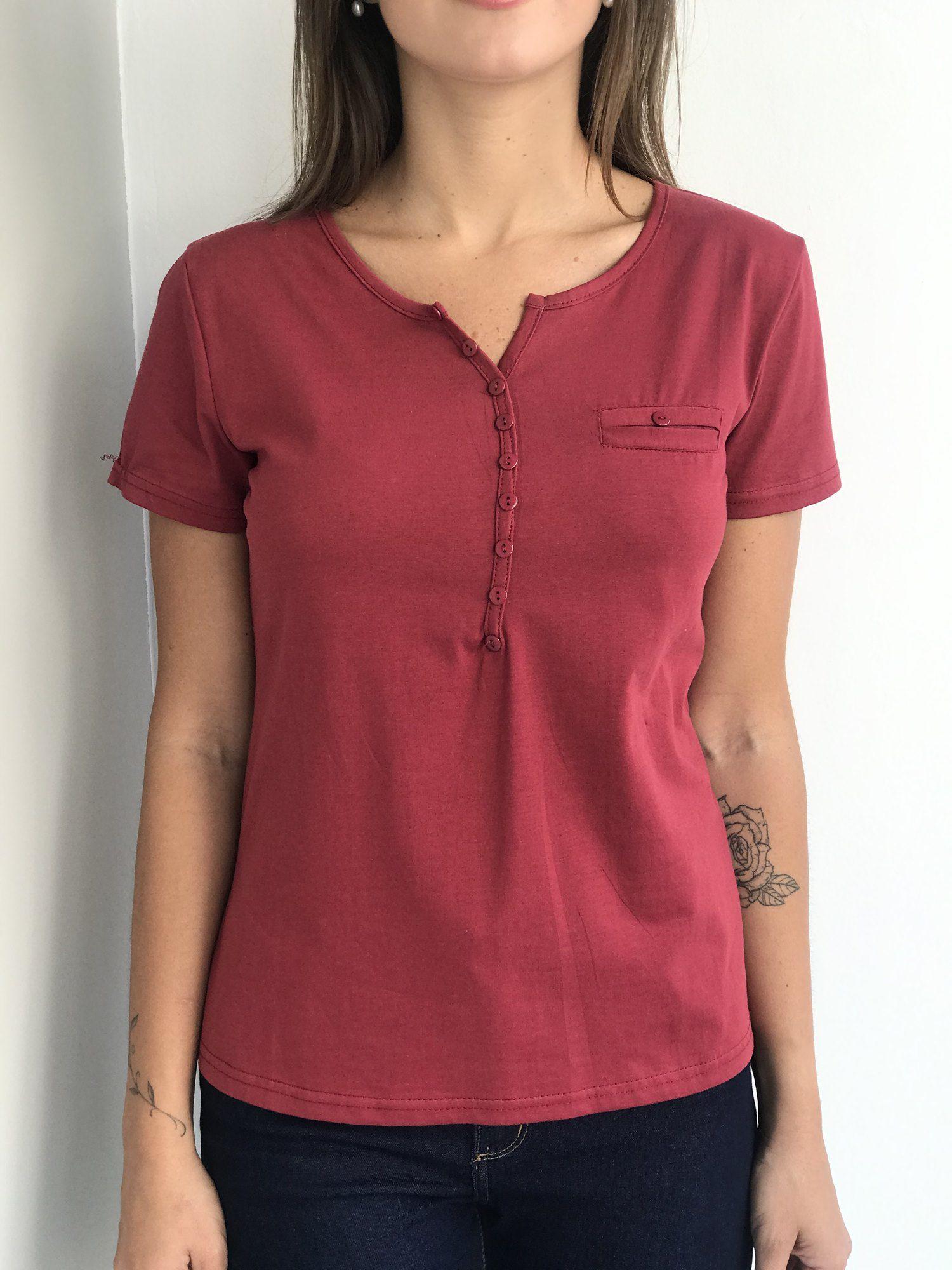 Camiseta Botões de Algodão