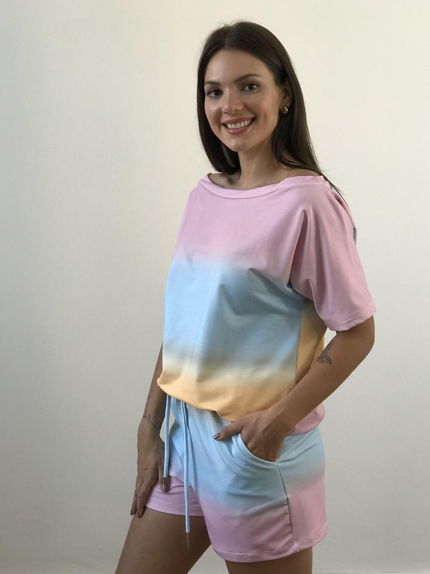 Conjunto Shorts e Blusa MangaDegradê