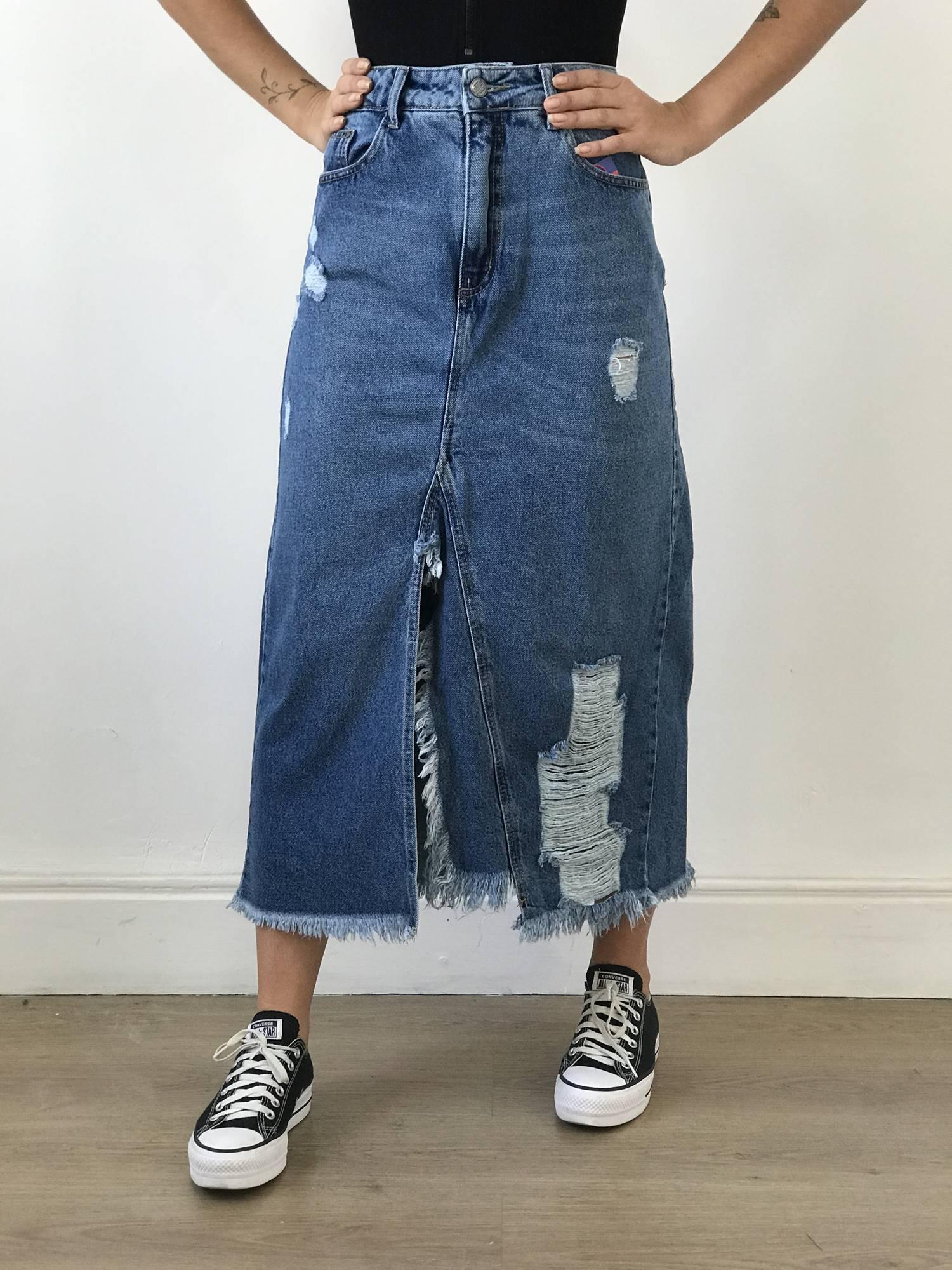 Saia Midi Jeans Destroyed