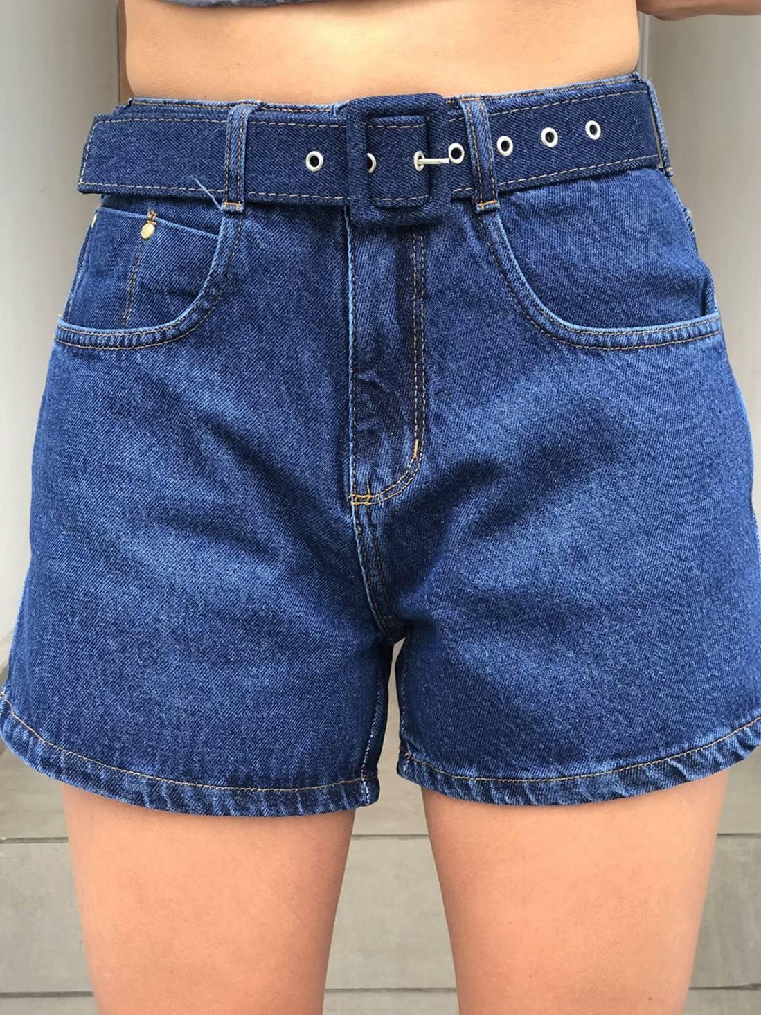 Shorts Jeans Cinto Fivela Encapada