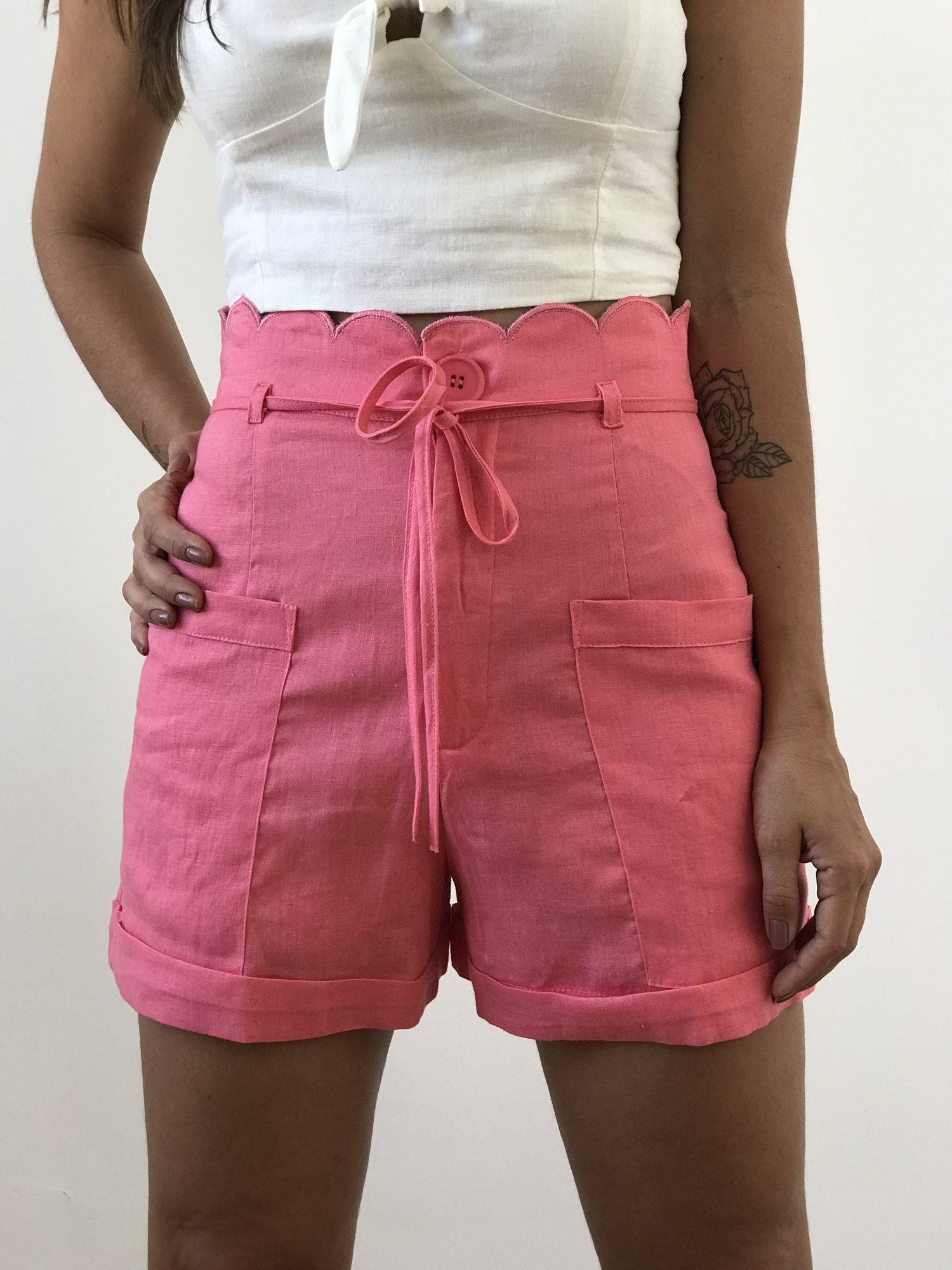 Shorts Linho Cintura Alta