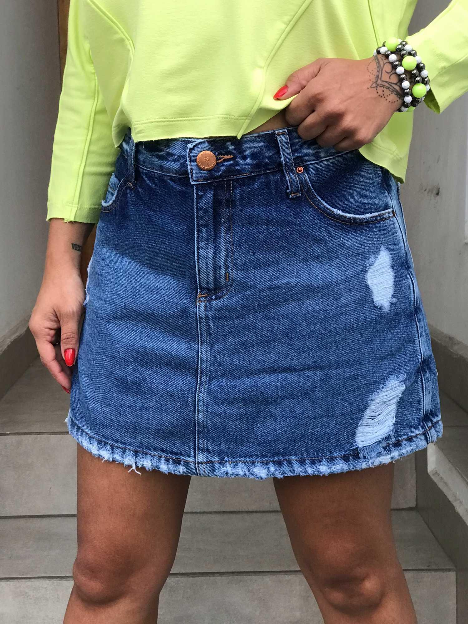 Shorts Saia Jeans Puído