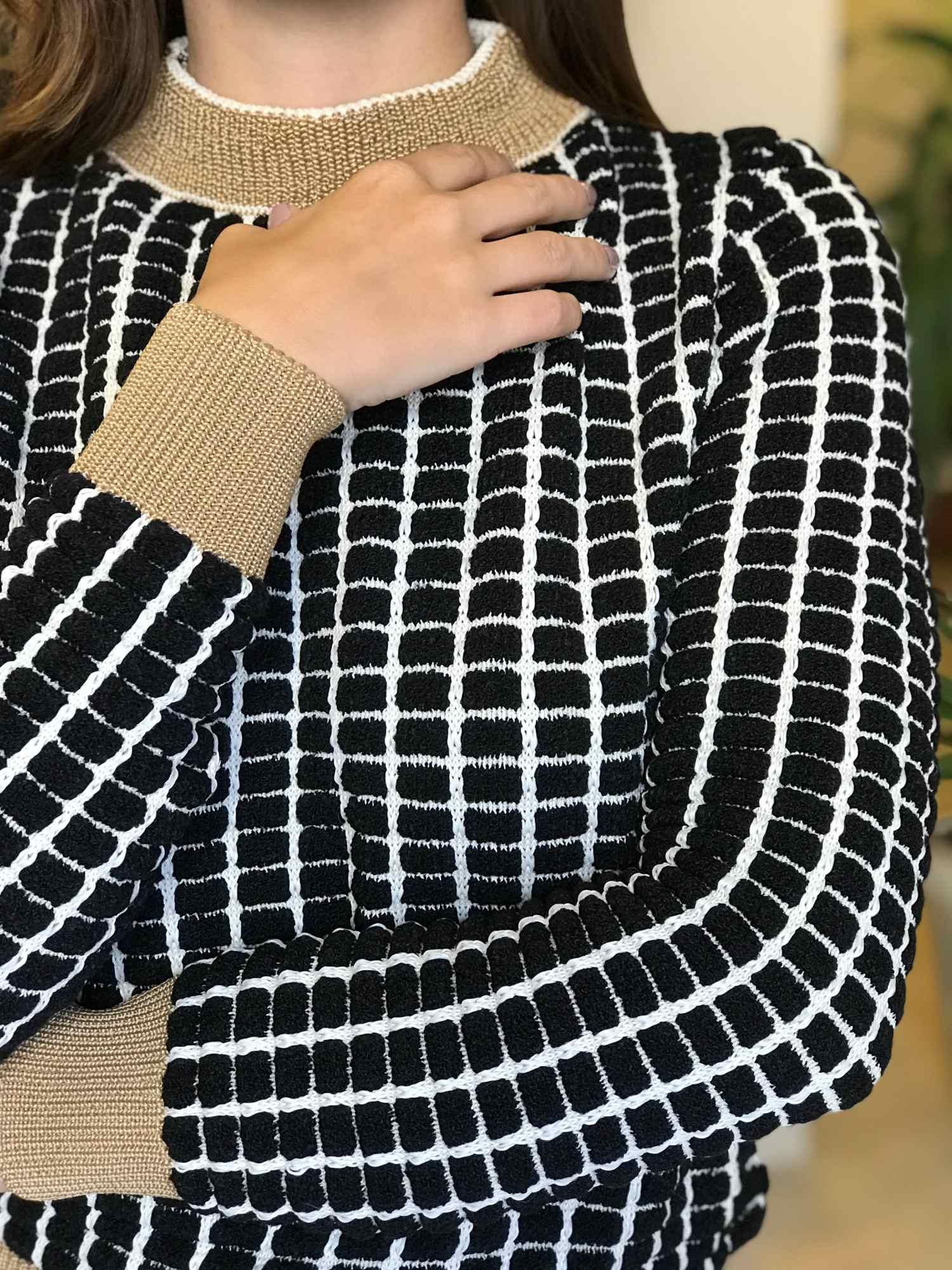 Suéter Tricot Dropper Quadriculado