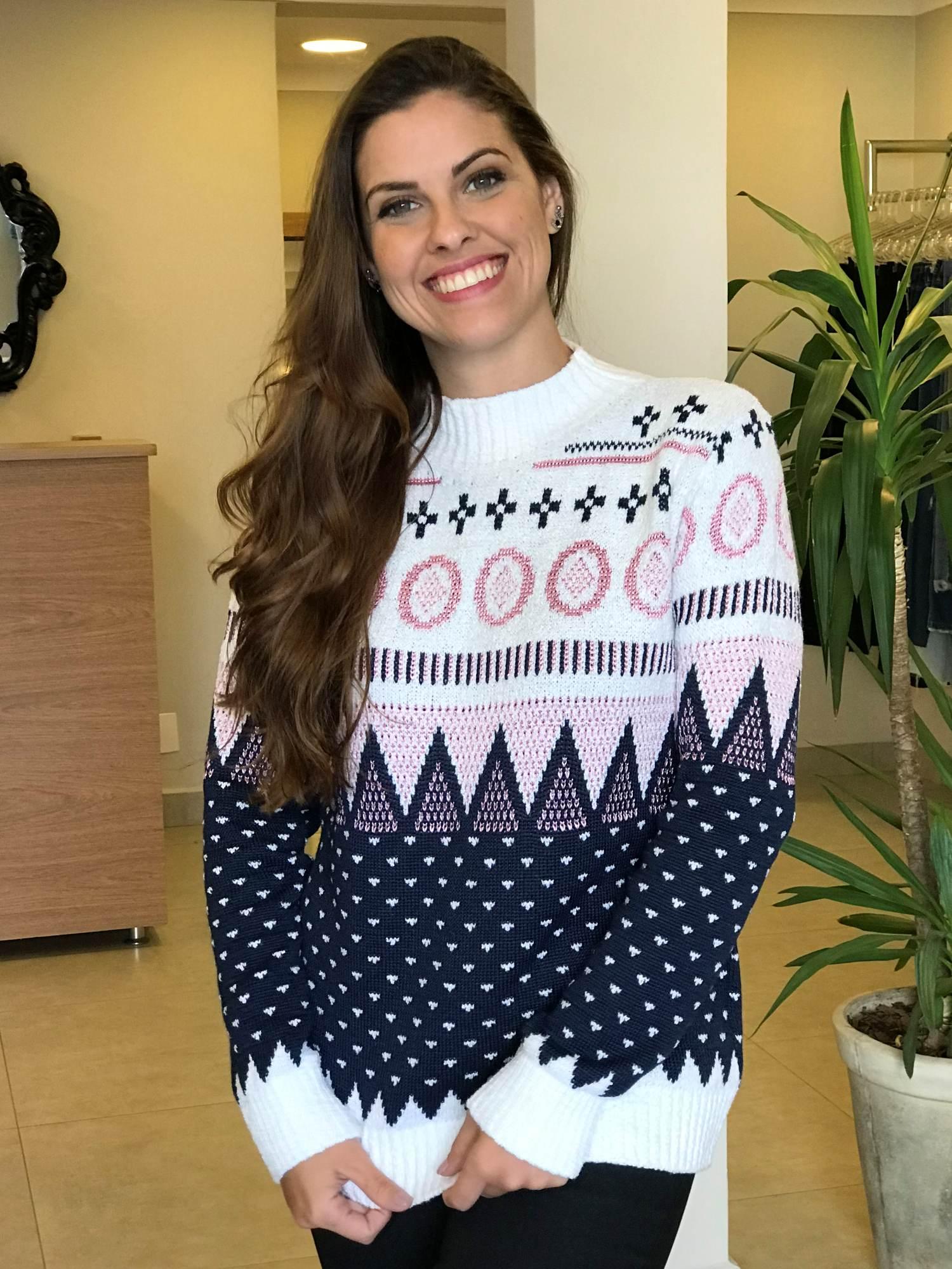 Suéter Tricot Estampa Étnica