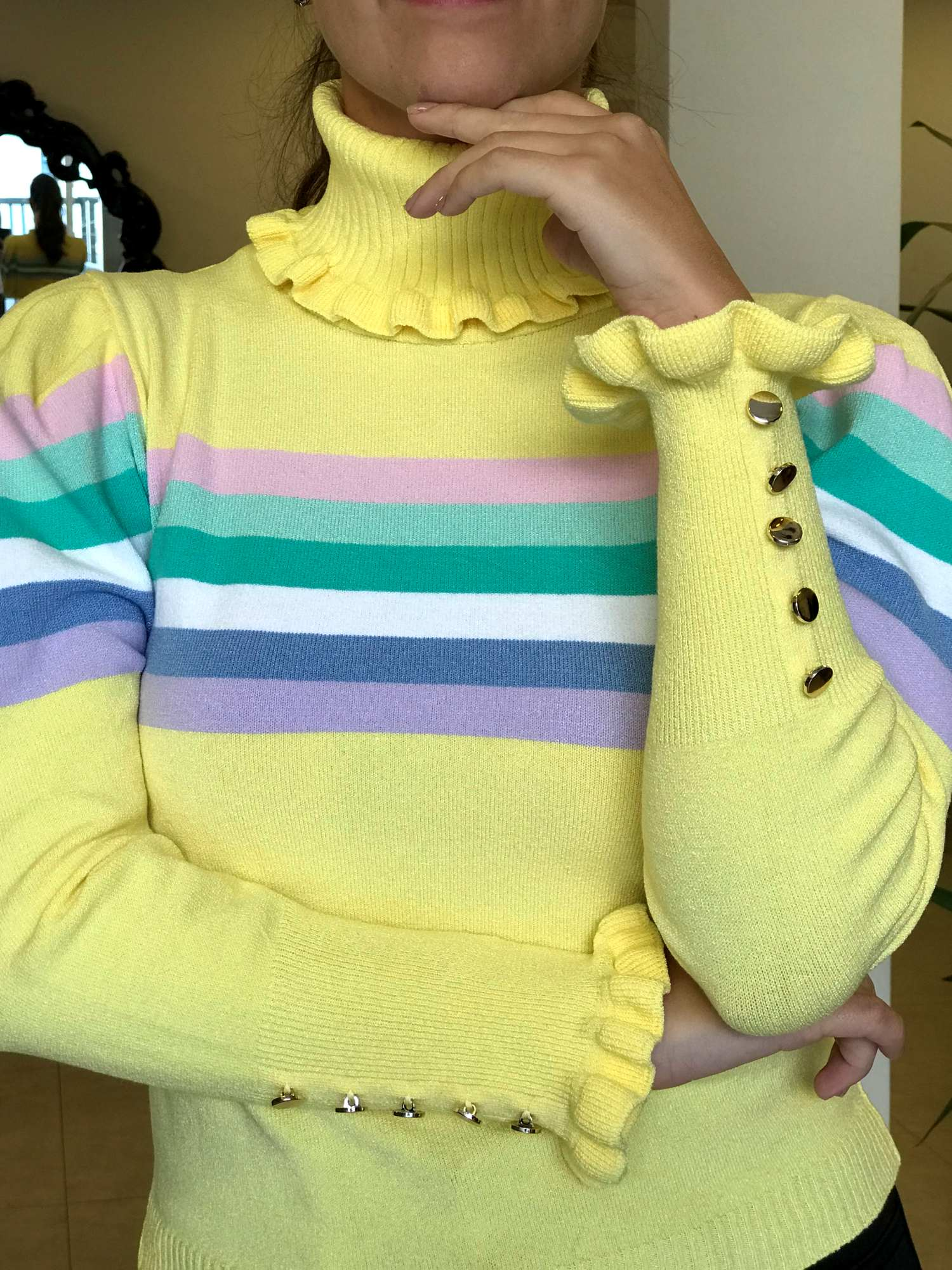 Suéter Tricot Gola Alface Manga Princesa
