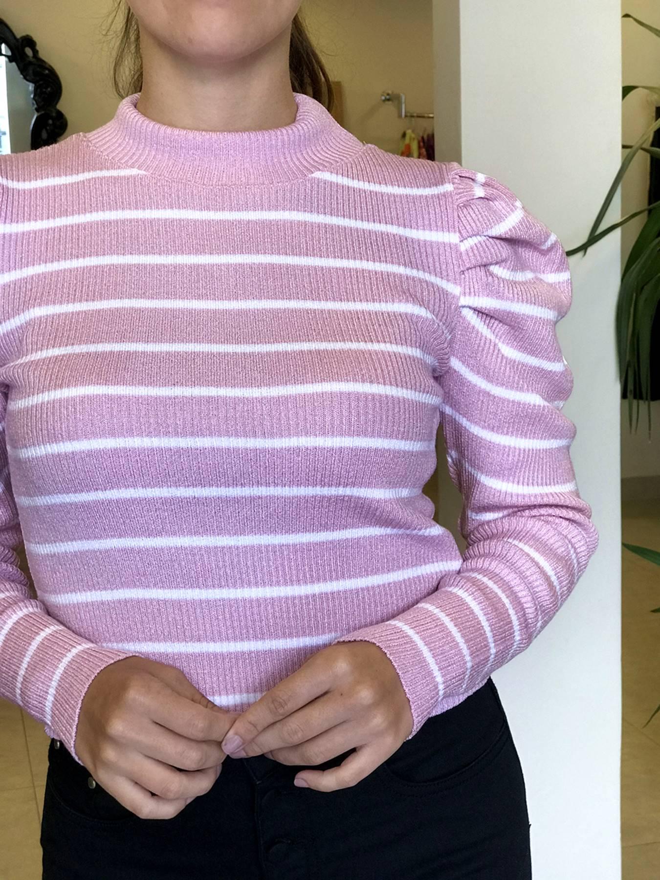 Suéter Tricot Listrado Manga Princesa