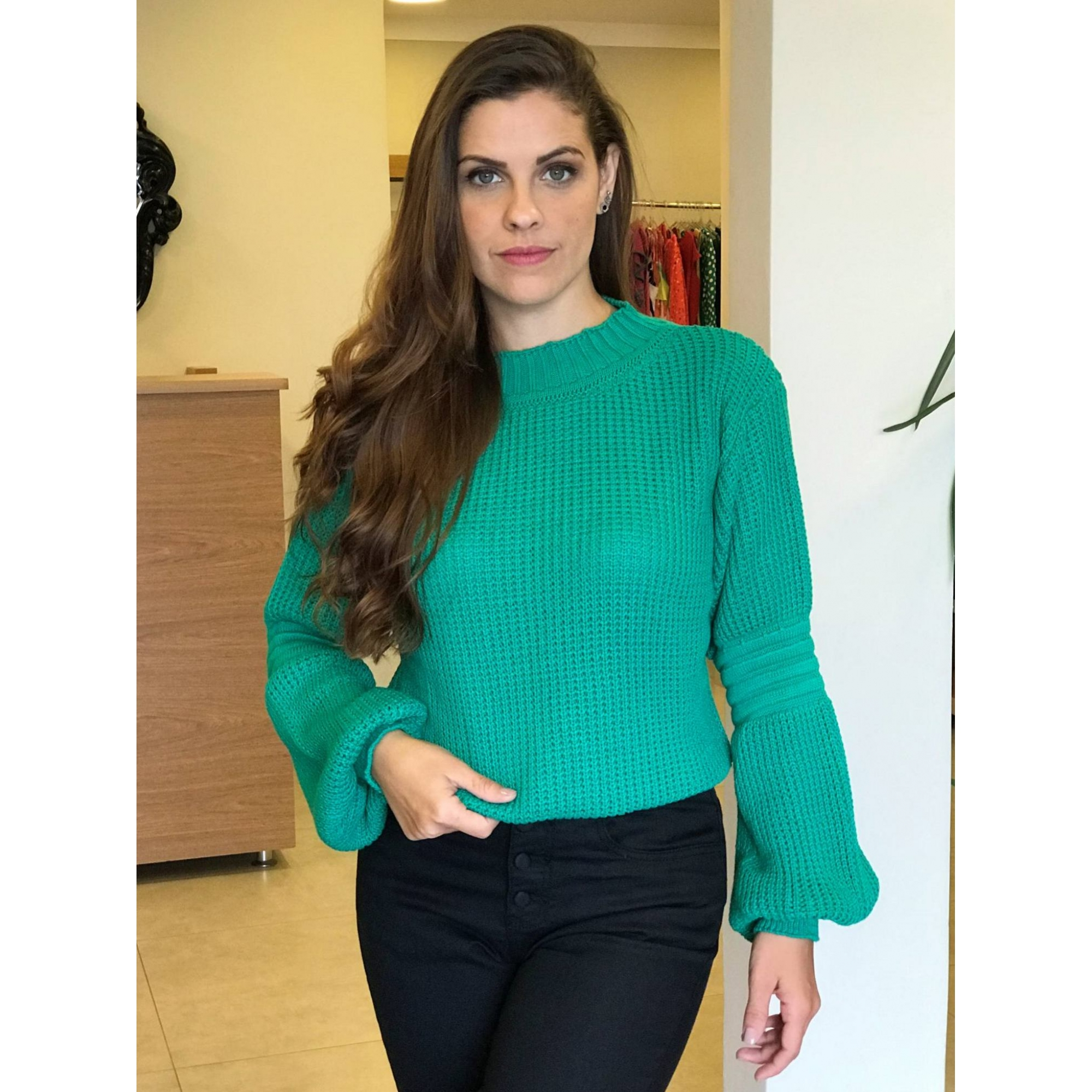 Suéter Tricot Manga Bufante