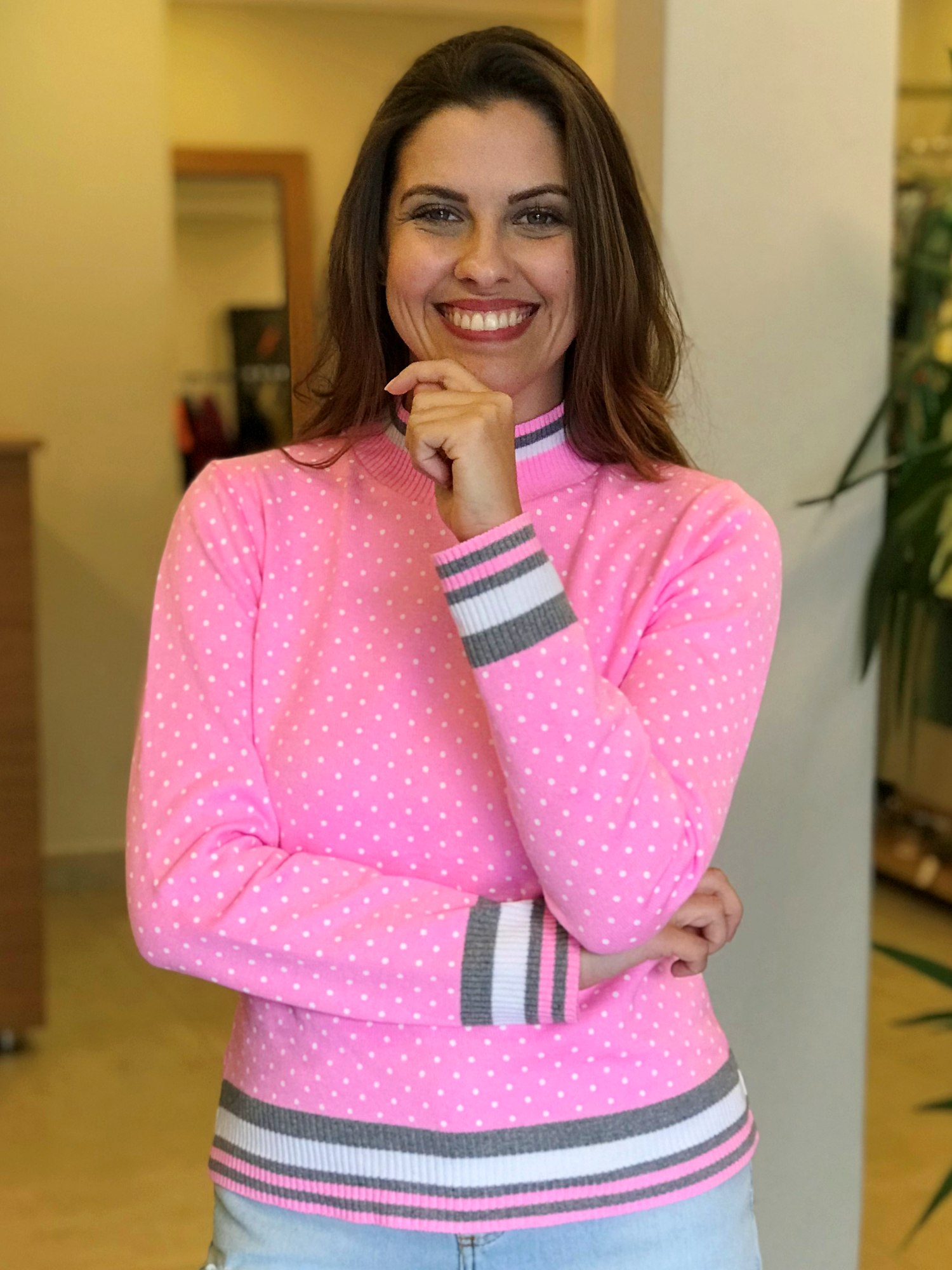 Suéter Tricot Poá e Listras Rosa