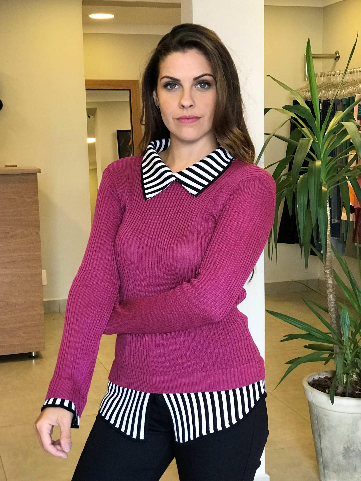 Suéter Tricot Sobreposição Camisa