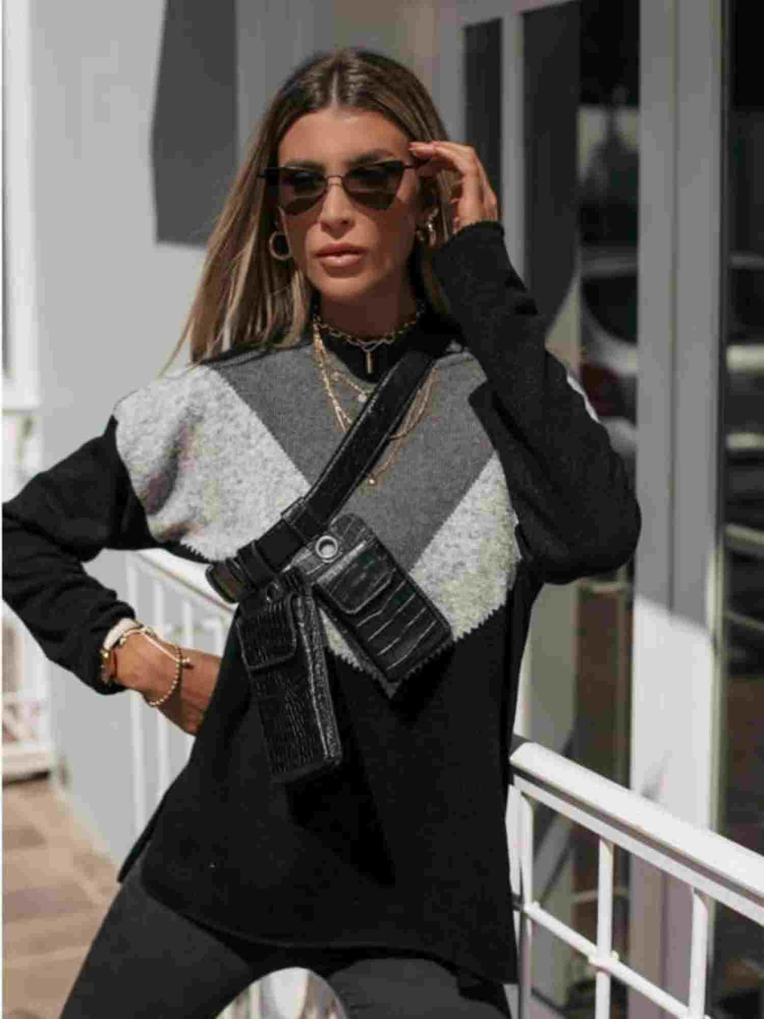 Suéter Tricot Triângulos Tricolor