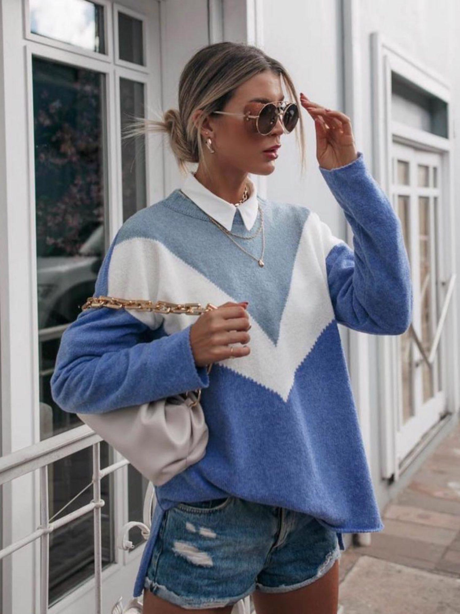 Suéter Tricot Triângulos Tricolor Azul
