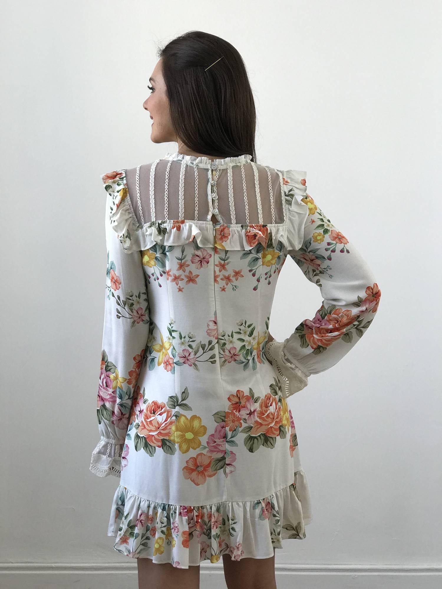 Vestido Estampado com detalhe em Renda
