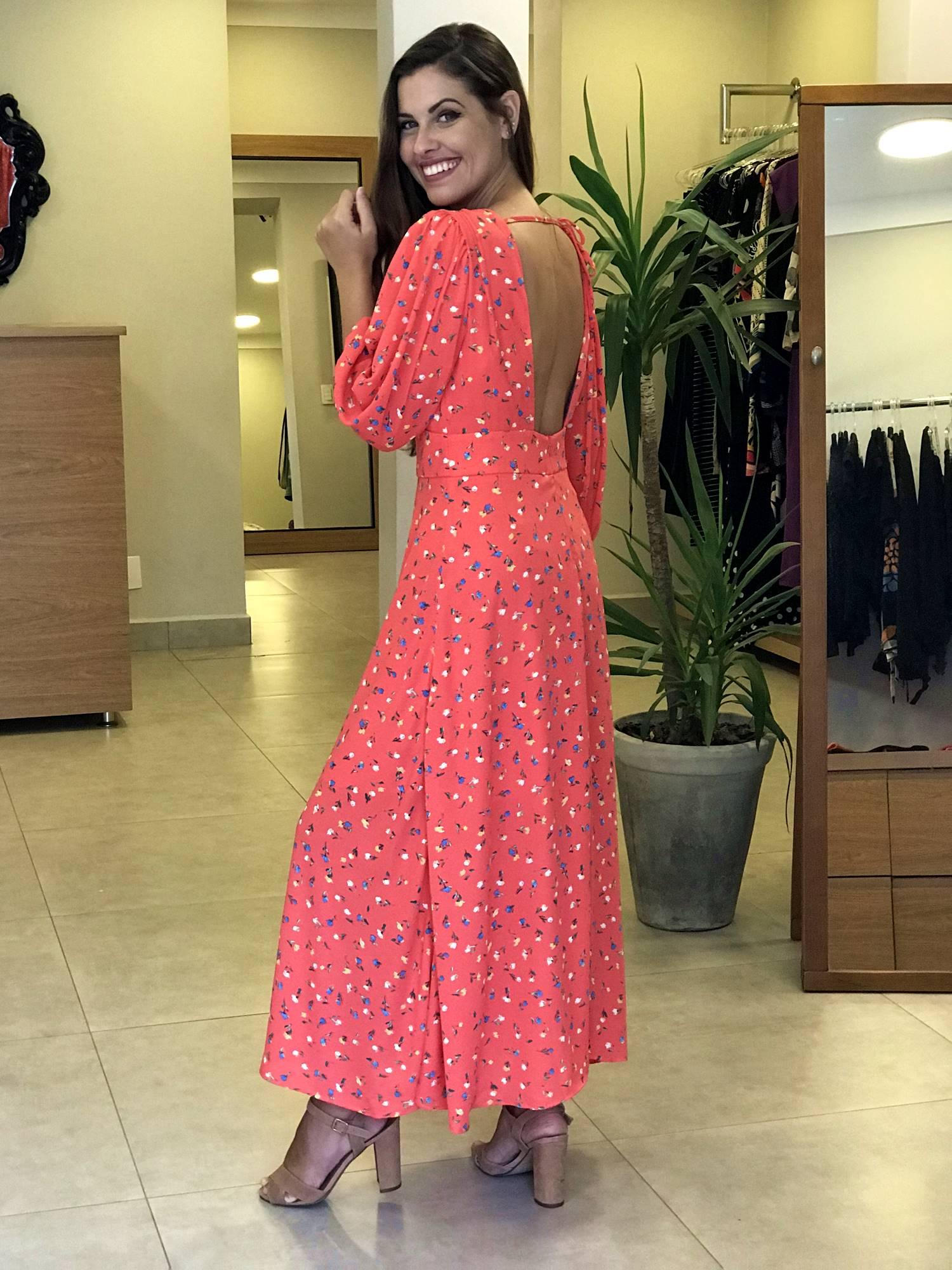 Vestido Midi/Longo Floral Decote Costas