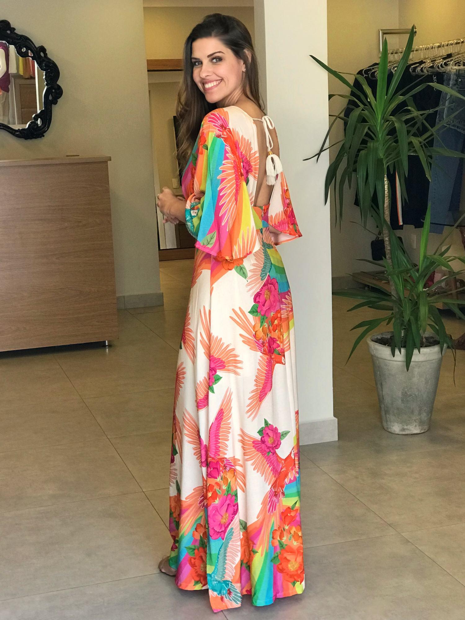Vestido Longo Fenda Araras