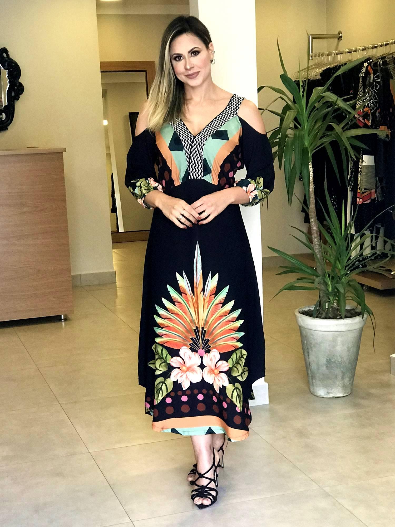 Vestido Midi Flores Decote V