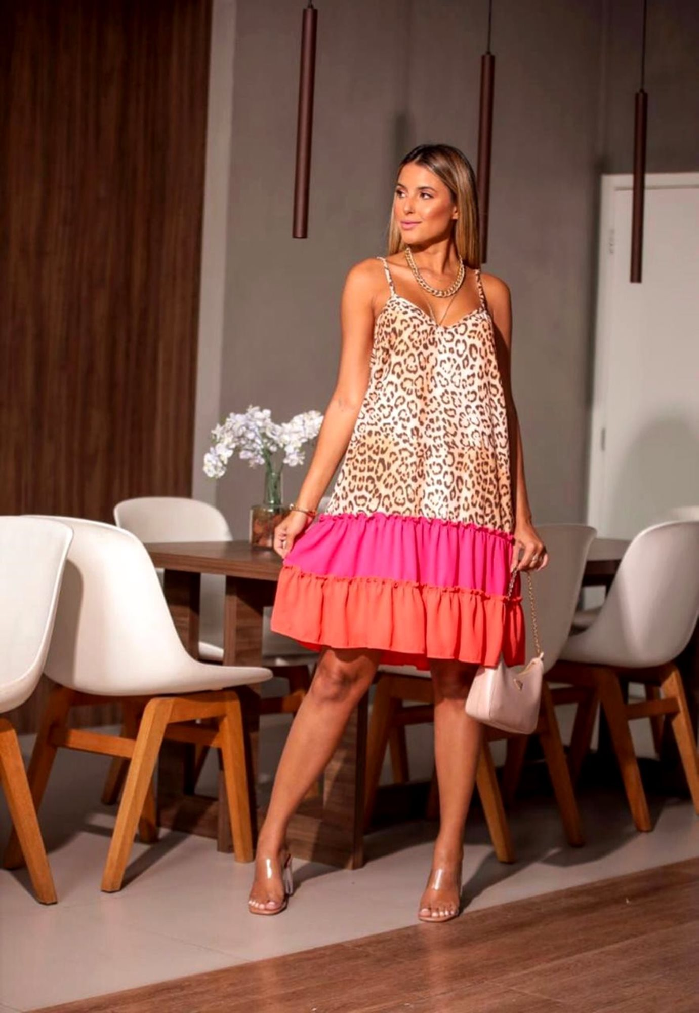 Vestido Animal Print Color Block