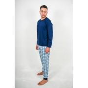 Pijama Azul Marinho com Xadrez Azul