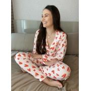 Pijama Coração Vermelho e Branco