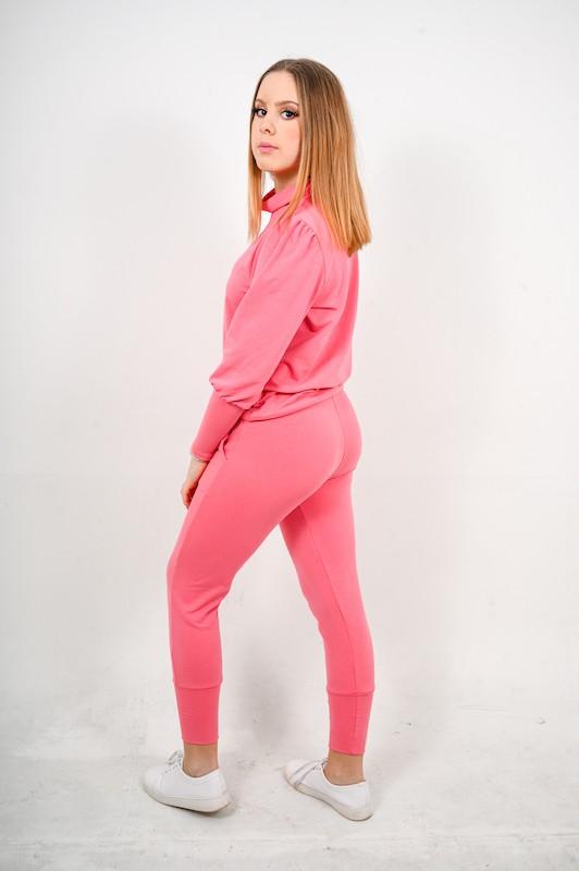 Conjunto comfy rosa chiclete com Manga Bufante