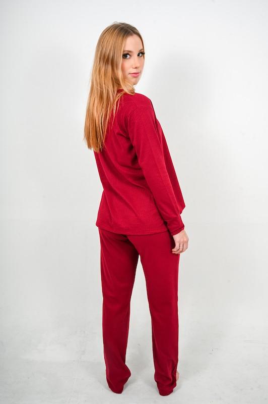 Pijama Canelado Bordô