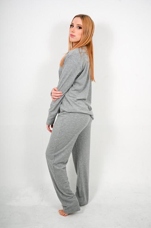 Pijama Canelado Cinza