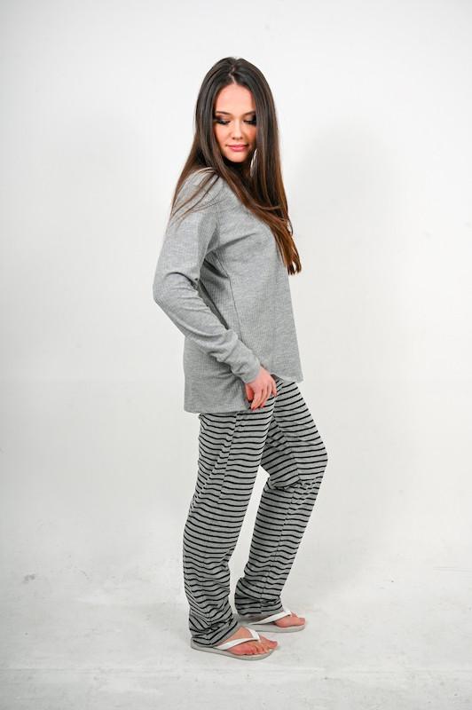 Pijama Canelado cinza com listras