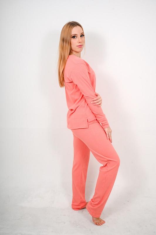 Pijama Canelado Salmão