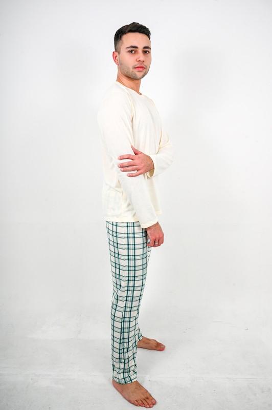 Pijama Creme com Xadrez