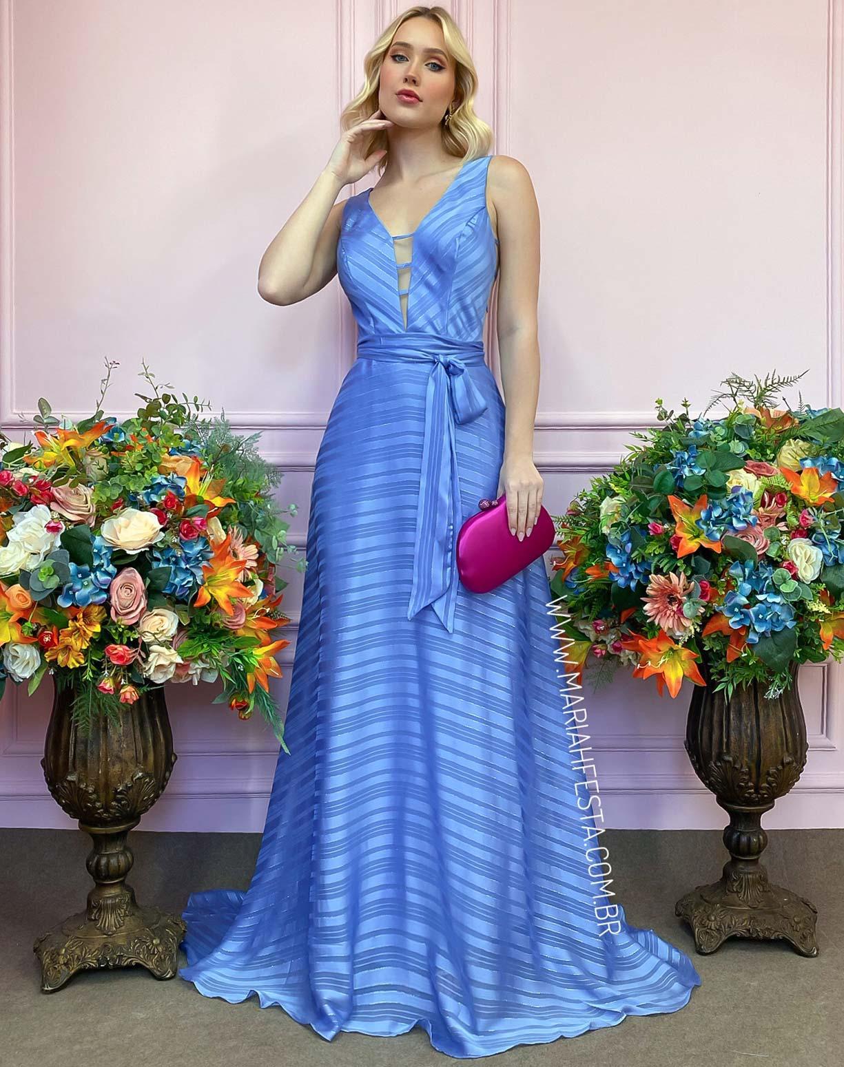 Vestido Azul Serenity com Listras e fios de Lurex