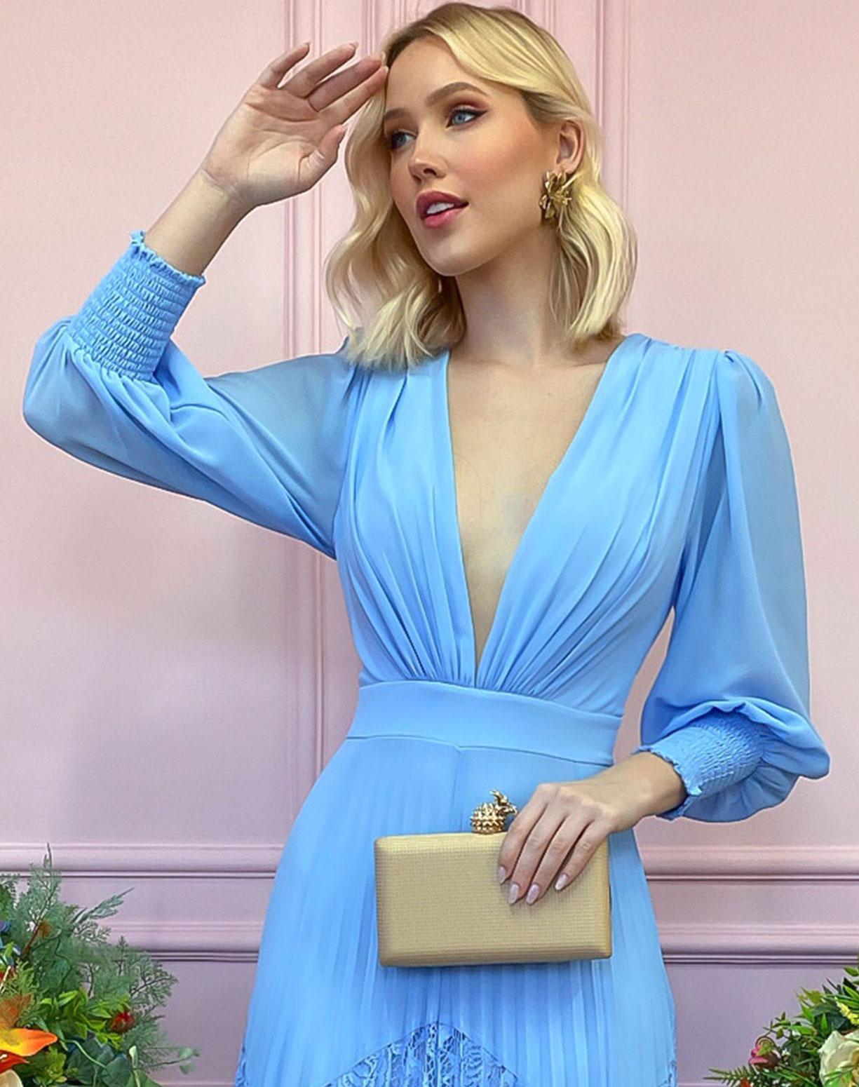 Vestido Azul Serenity com Saia Plissada