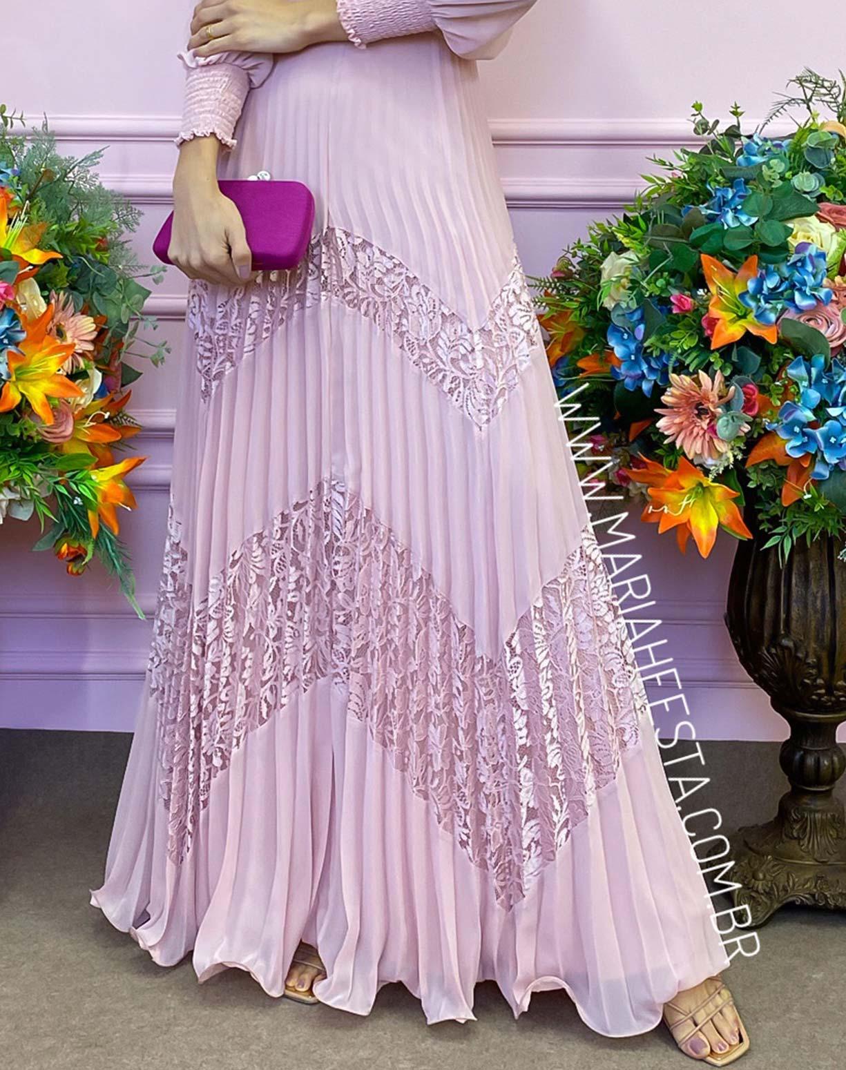 Vestido Rosê com Saia Plissada